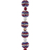 Blue, Red & Clear Crystal Ball Bead Strand