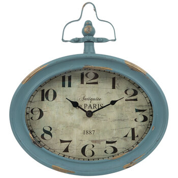 Antique Turquoise Oval Metal Wall Clock