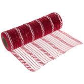 "Red & White Striped Deco Mesh Ribbon - 10"""