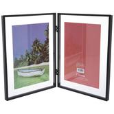 "Black Hinged Metal Double Float Frame - 5"" x 7"""