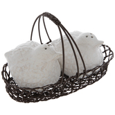 White Birds In Basket Salt & Pepper Shakers