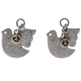 Dove Earring Charms With Peace Signs