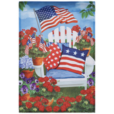 Patriotic Chair & Flowers Garden Flag