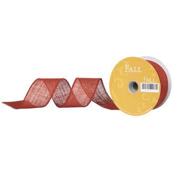 "Burnt Orange Burlap Wired Edge Ribbon - 2 1/2"""