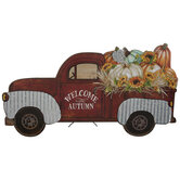 Red Welcome Autumn Truck Wood Decor