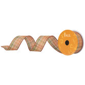 "Orange & Green Plaid Wired Edge Ribbon - 1 1/2"""