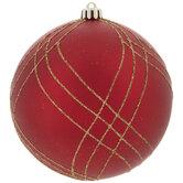 Red & Gold Glitter Ball Ornaments