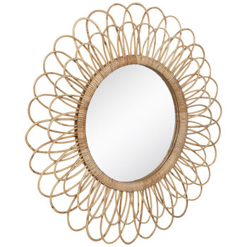 Flower Rattan Wall Mirror