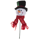 Plush Snowman With Top Hat Pick