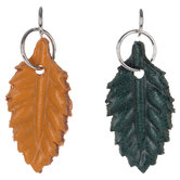 Green & Yellow Leather Leaf Charms