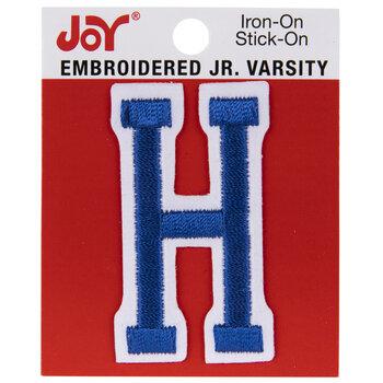 "Blue Junior Varsity Letter Iron-On Applique H - 2"""