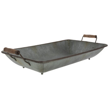 Rounded Rectangle Galvanized Metal Tray