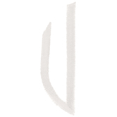 White Circular Monogram Iron-On Left Letter U - 1 3/4""