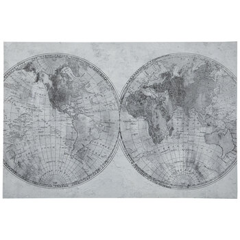 Gray & Black World Map Canvas Wall Decor