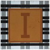 Plaid & Leather Letter Wood Wall Decor - I