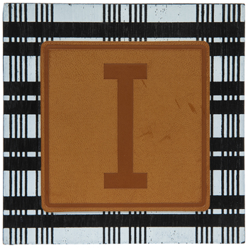 Plaid & Leather Letter Wood Wall Decor - I