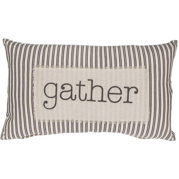 Gather Ticking Striped Pillow