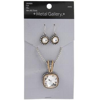 Rhinestone Necklace & Earrings Set