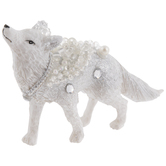 Silver & White Glamorous Fox Ornament