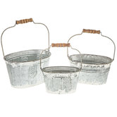 White Rustic Oval Galvanized Metal Bucket Set