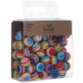 Rainbow Striped Round Beads