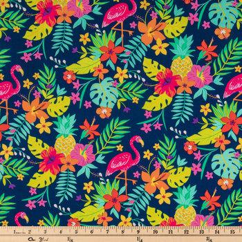 Tropical Leaf Flamingo Apparel Fabric