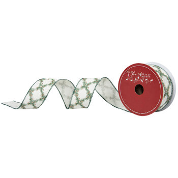 """Pine Patterned Wired Edge Ribbon - 1 1/2"""""""