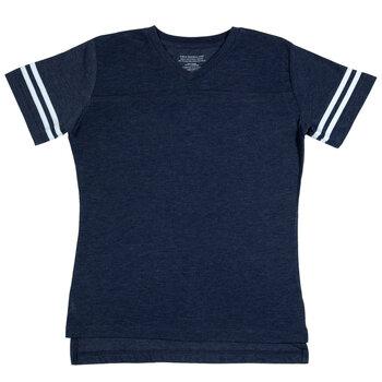 Heather Blue & White Baseball V-Neck Adult T-Shirt - Extra Large