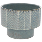 Blue Chevron Layered Flower Pot