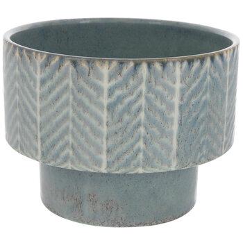 Blue Chevron Layered Flower Pot