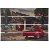 Vintage Gas Station With Trucks Wood Wall Decor