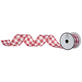 "Red & White Glitter Buffalo Check Wired Edge Ribbon - 2 1/2"""