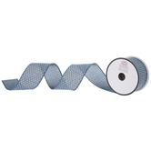 "Denim Blue & White Polka Dot Wired Edge Ribbon - 2"""