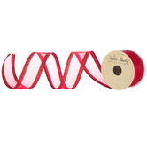 Red Glitter Wired Edge Sheer Ribbon - 1 1/2""