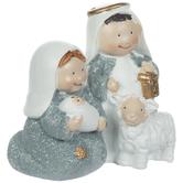 White & Blue Glitter Nativity Scene