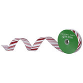 """Candy Cane Striped Wired Edge Ribbon - 1"""""""