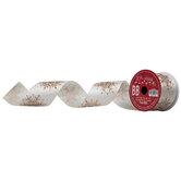 """Copper Glitter Snowflake Wired Edge Ribbon - 2 1/2"""""""