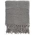 Gray Fringe Throw Blanket