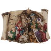 Joy To The World Nativity Scroll Decor