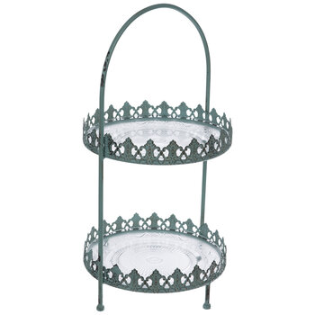 Antique Turquoise Filigree Two-Tiered Metal Tray