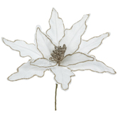 White & Gold Glitter Poinsettia Pick