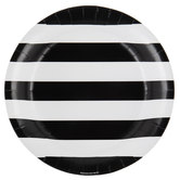 Black & White Striped Paper Plates - Large