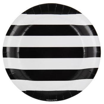 Black & White Striped Paper Plates