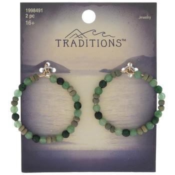 Green Bead Circle Pendants