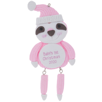 Pink Sloth Baby's First Ornament