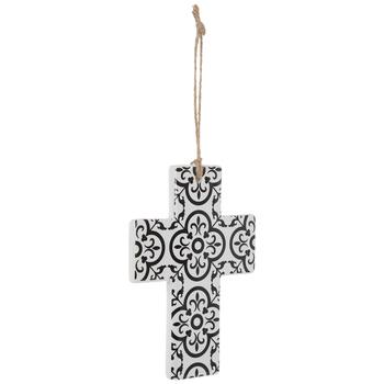 White & Black Damask Wall Cross