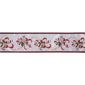 """Green & Red Candy Cane Wire Edge Ribbon - 2 1/2"""""""
