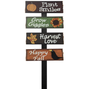 Plant Smiles Wood Garden Stake
