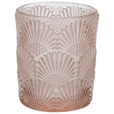 Pink Fan Textured Glass Candle Holder