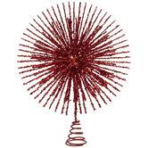 Red Glitter Starburst Tree Topper